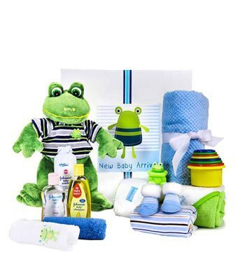 Frog Themed New Baby Basket