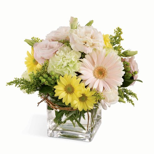 White gerbera daisy light green carnation and yellow daisy st Patricks Day bouquet