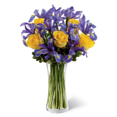 Yellow roses blue iris flower bouquet and who was iris goddess