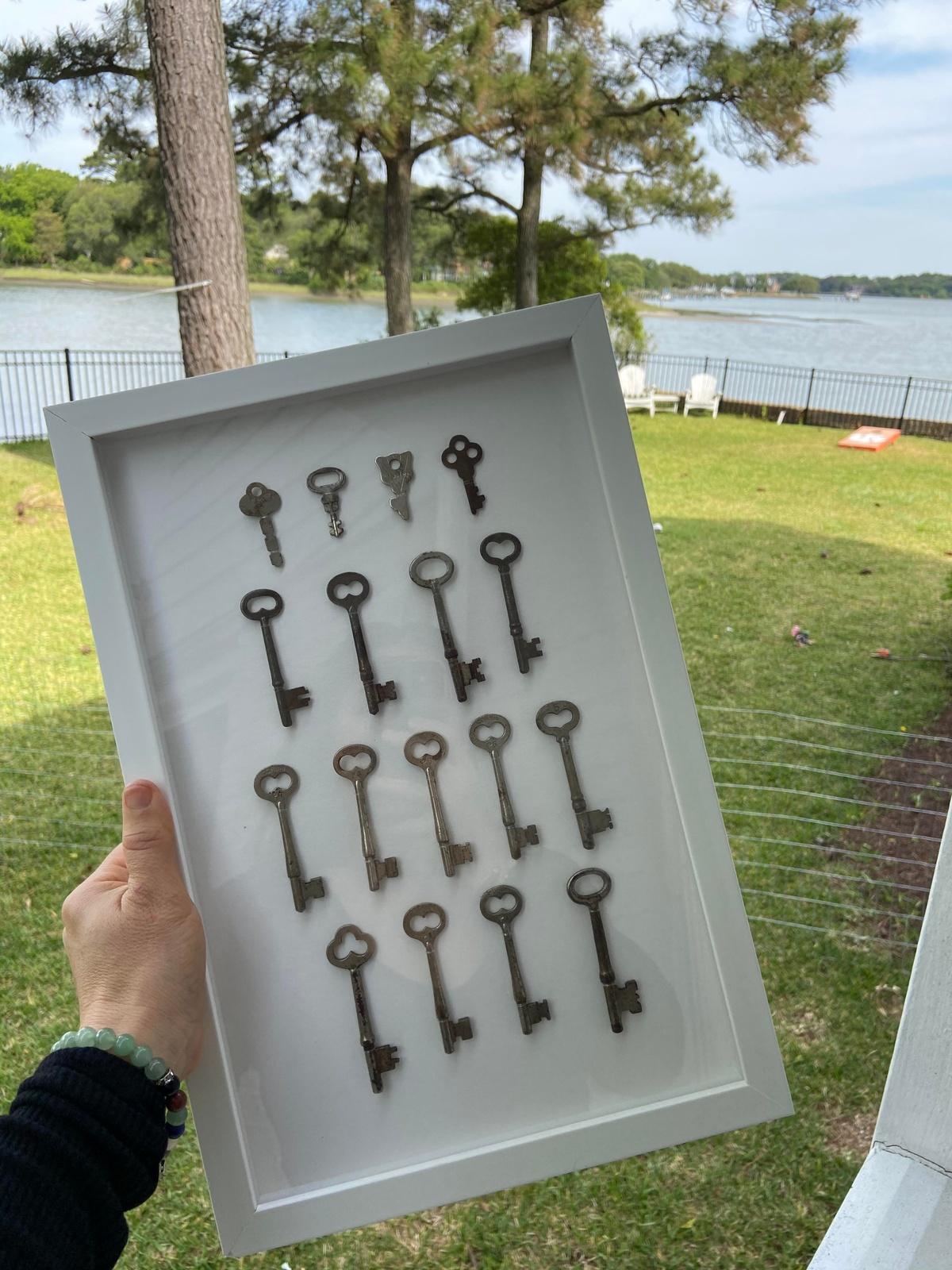 framed antique keys