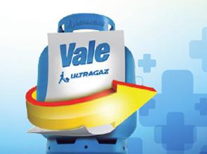 """Ilustração da campanha Vale Gás com fundo azul claro, botijão na cor azul mais escura, com um papel a frente escrito """"Vale Gás"""" e uma seta amarela ao redor do botijão."""