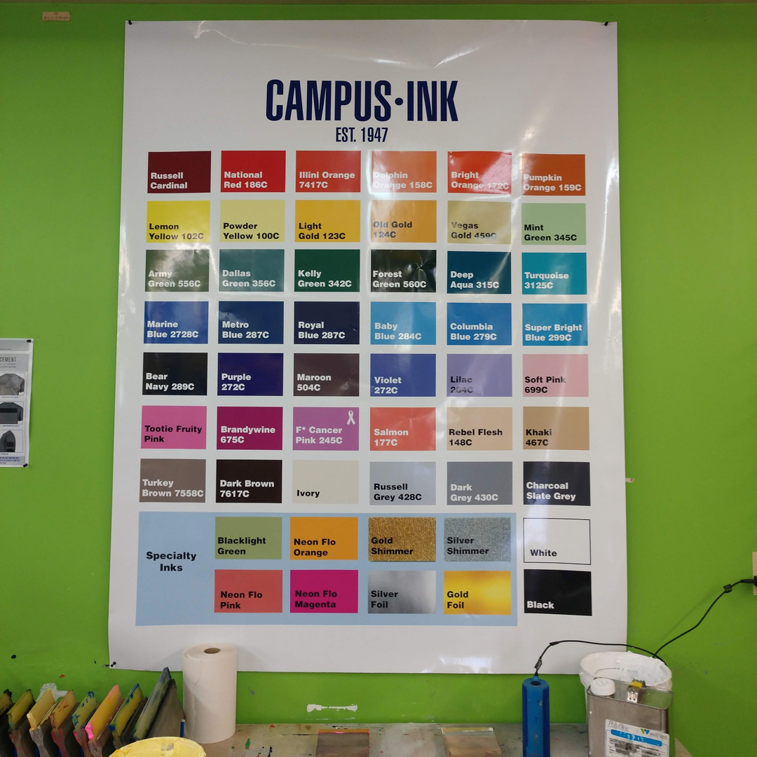 Standard screen printing ink colors.