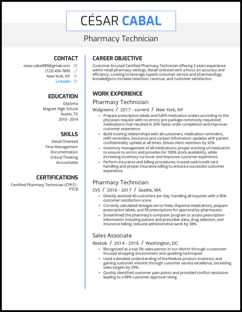 Pharmacy technician resume with 5+ years of experience