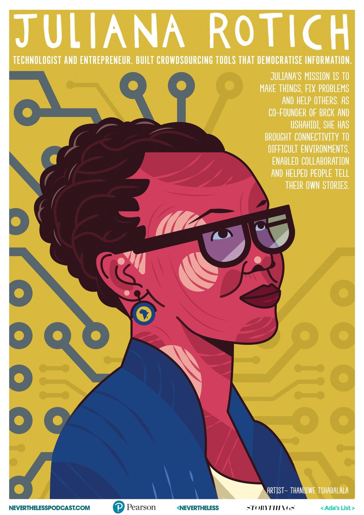 illustrated poster of Juliana Rotich by Thandiwe Tshabalala