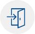 Ícone com o desenho de uma porta com seta indicadora