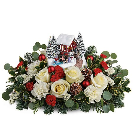 Christmas flowers gift delivery white roses red carnations Thomas Kinkade centerpiece