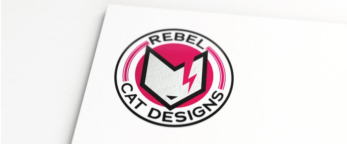 Rebel Cat Designs logo on paper