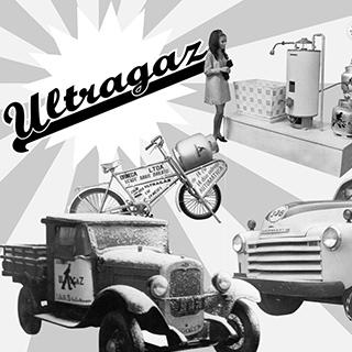 Ilustração em preto e branco feita em 1961 com o logo da Ultragaz estampado no canto esquerdo e várias fotos de caminhões, máquinas de envasamento de gás, bicicletas de distribuição em comemoração ao primeiro milhão de clientes.