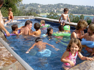 an all-ages pool party in this outdoor Endless Pools swimming machine