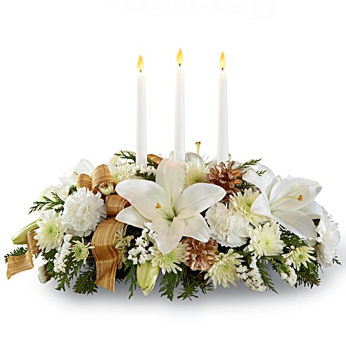 Christmas flowers gift delivery white lily candle flower centerpiece