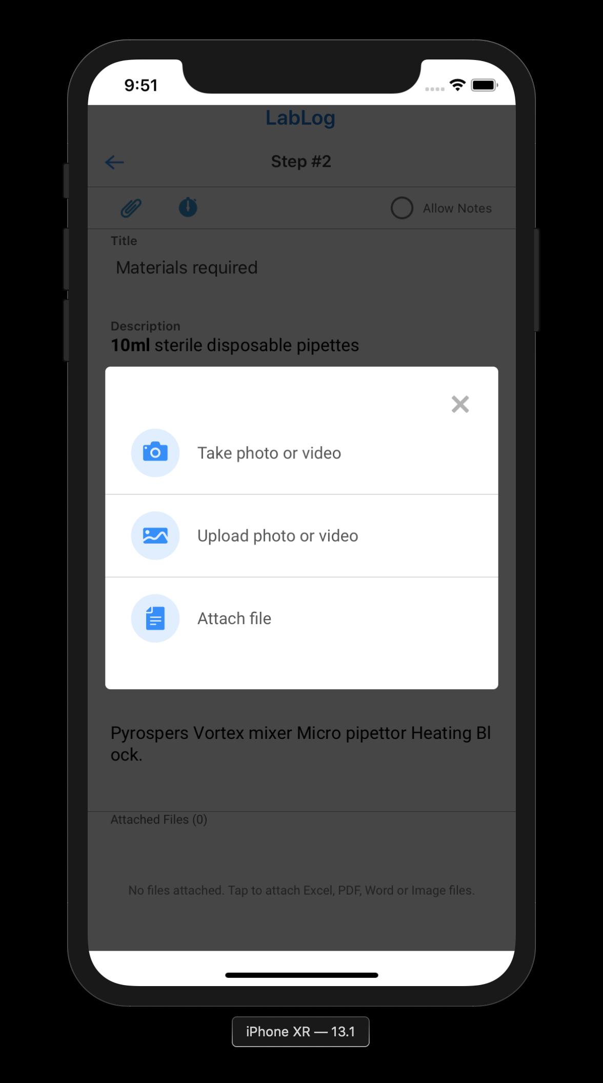 Attach Option Menu in LabLog mobile app