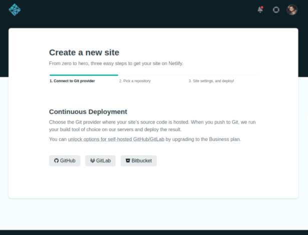 Screenshot of Netlify interface for continuous deployment