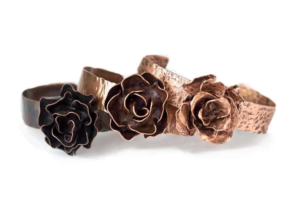 Copper Metal Sheet Rose Cuffs - Halstead