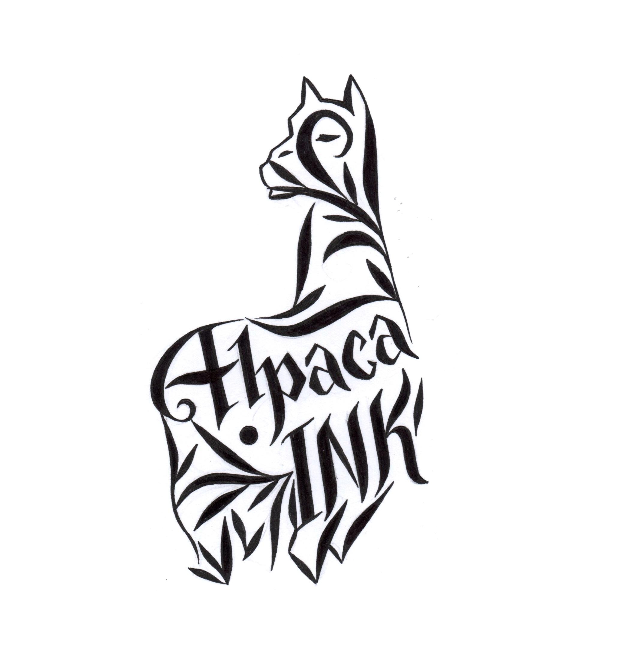 lettering alpaca hand drawn