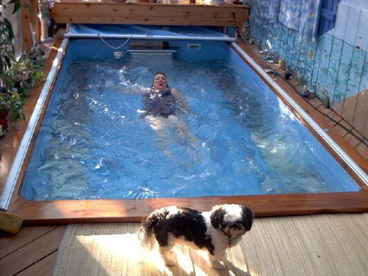 Regina does the backstroke in her Endless Pool