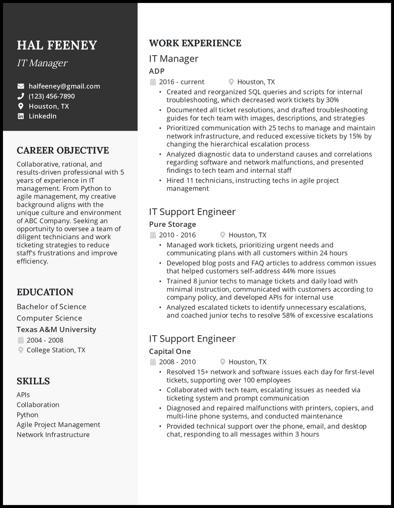 IT resume with 5 years of experience