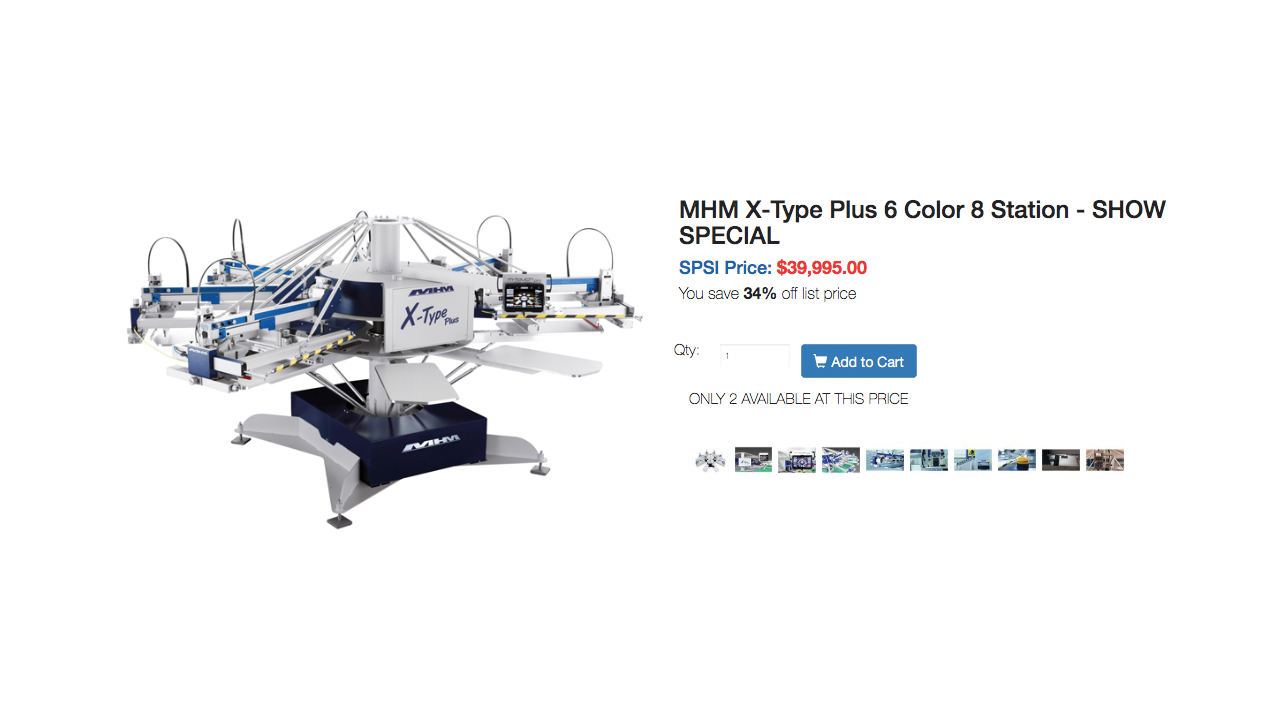 An MHM screen printing machine listed at $40,000 USD