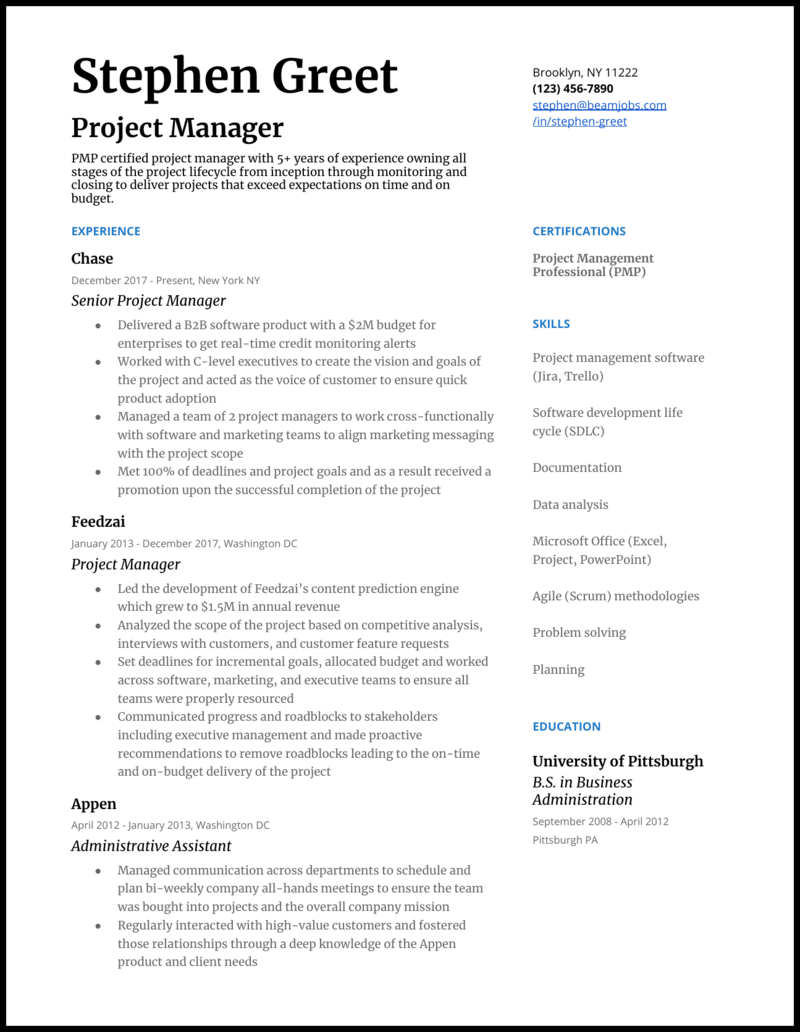 2020 Project Manager Resume Examples Guide