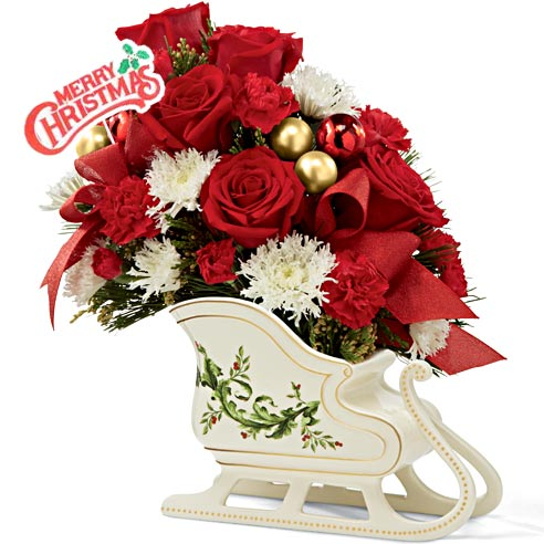 Christmas flowers gift delivery red roses flower sleigh bouquet