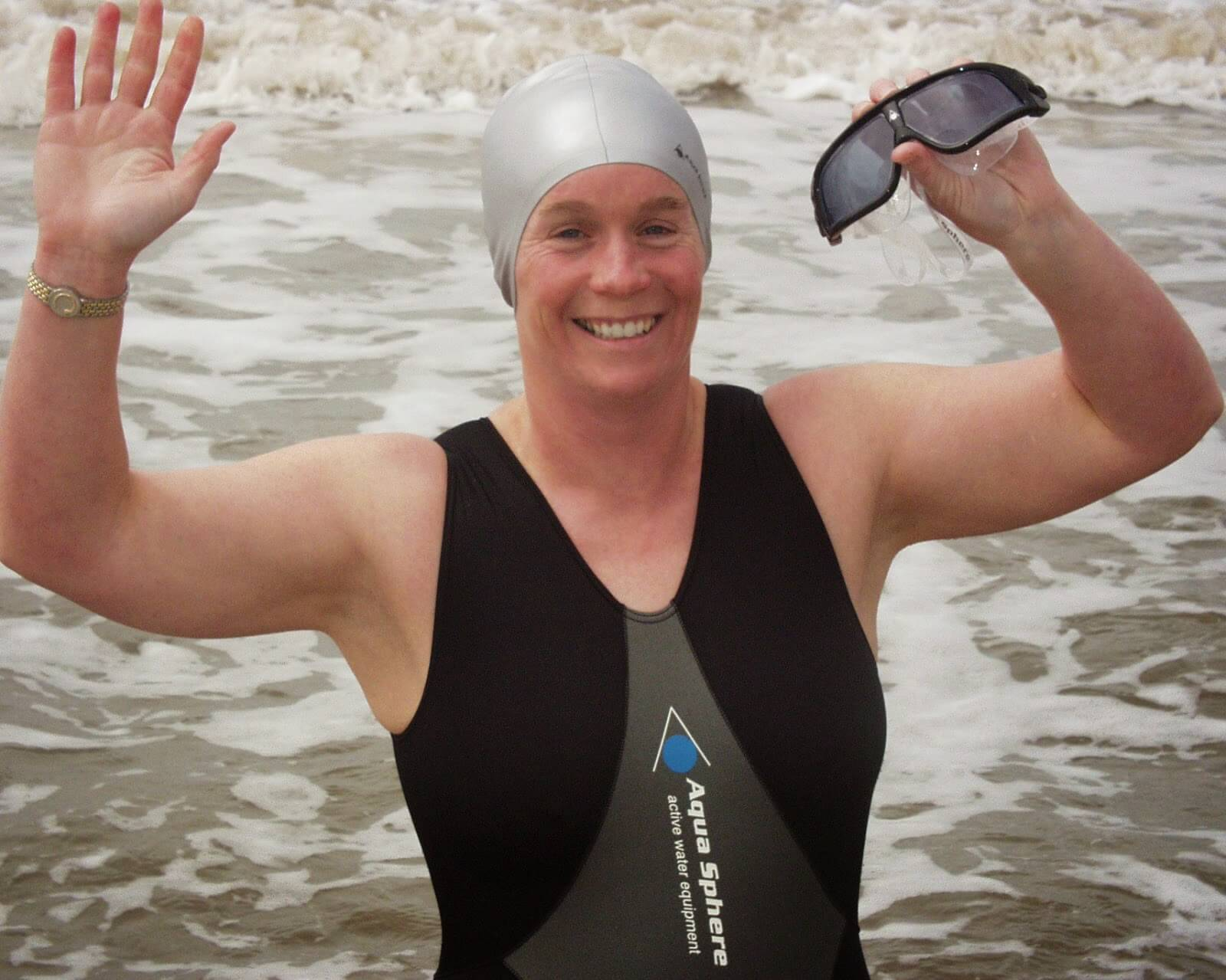 Open water swimmer and Endless Pool owner Dr. Julie Bradshaw MBE