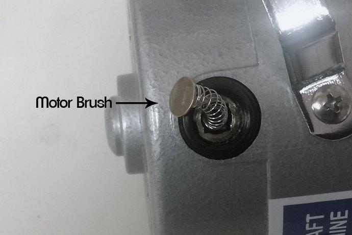 Flex shaft motor brush location
