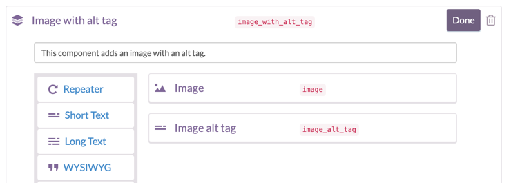 Screenshot demonstrating the user interface for image alt tags using a component