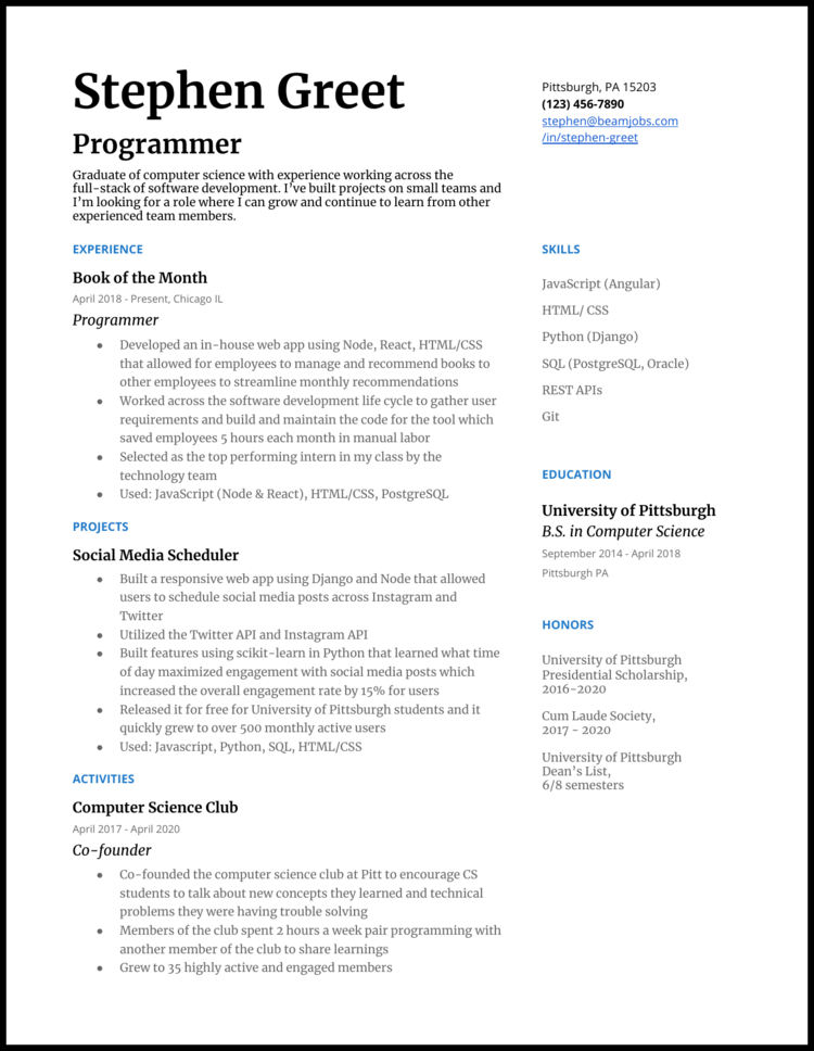 5 Programmer Resume Examples For 2020