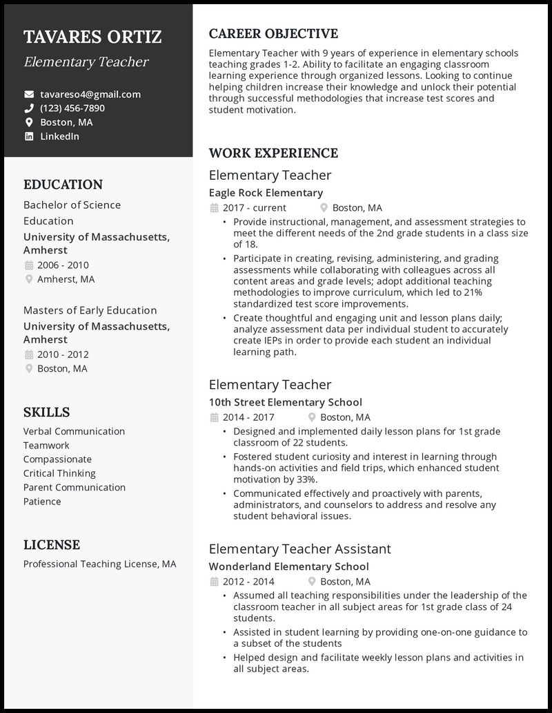 Elementary Teacher resume with 9 years of experience