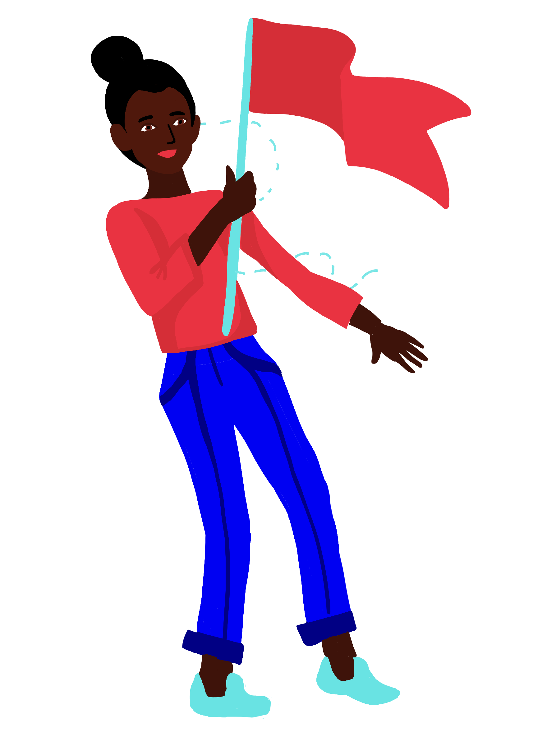 Woman happily waving a red flag.