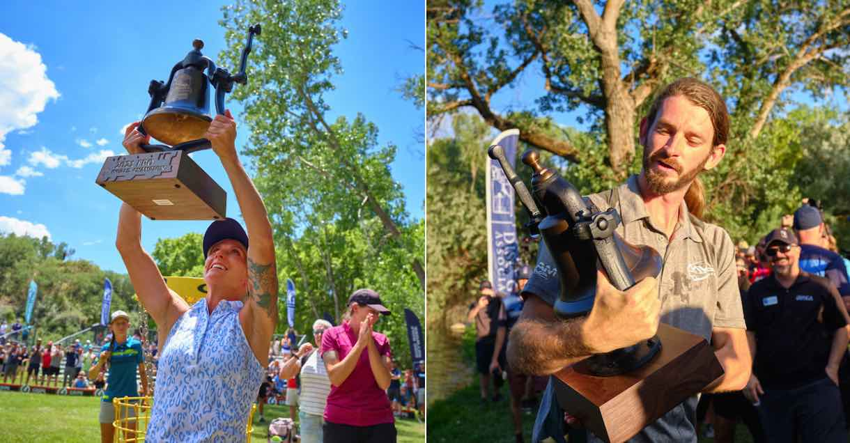 Photos of a man and a woman lovingly holding trophies after a disc golf tournament