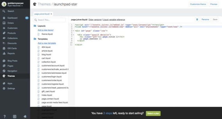 Template Editor with Juicer code