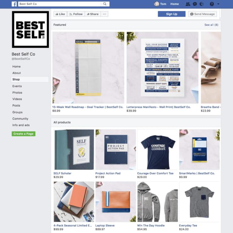 Facebook Shop online store