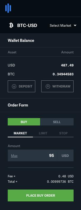 Coinbase Pro order entry