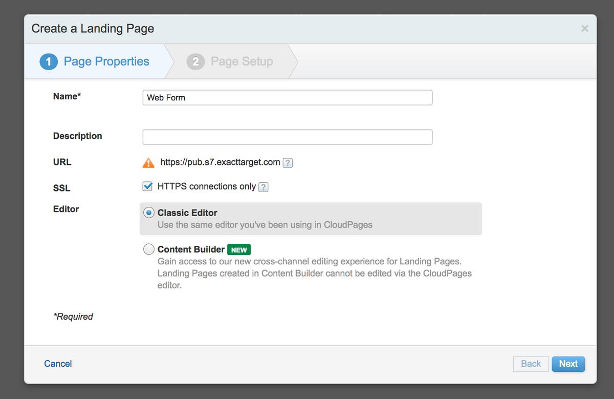 Create Landing Page - Step 1