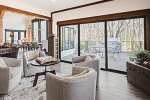 Interior living room with sliding patio fiberglass door