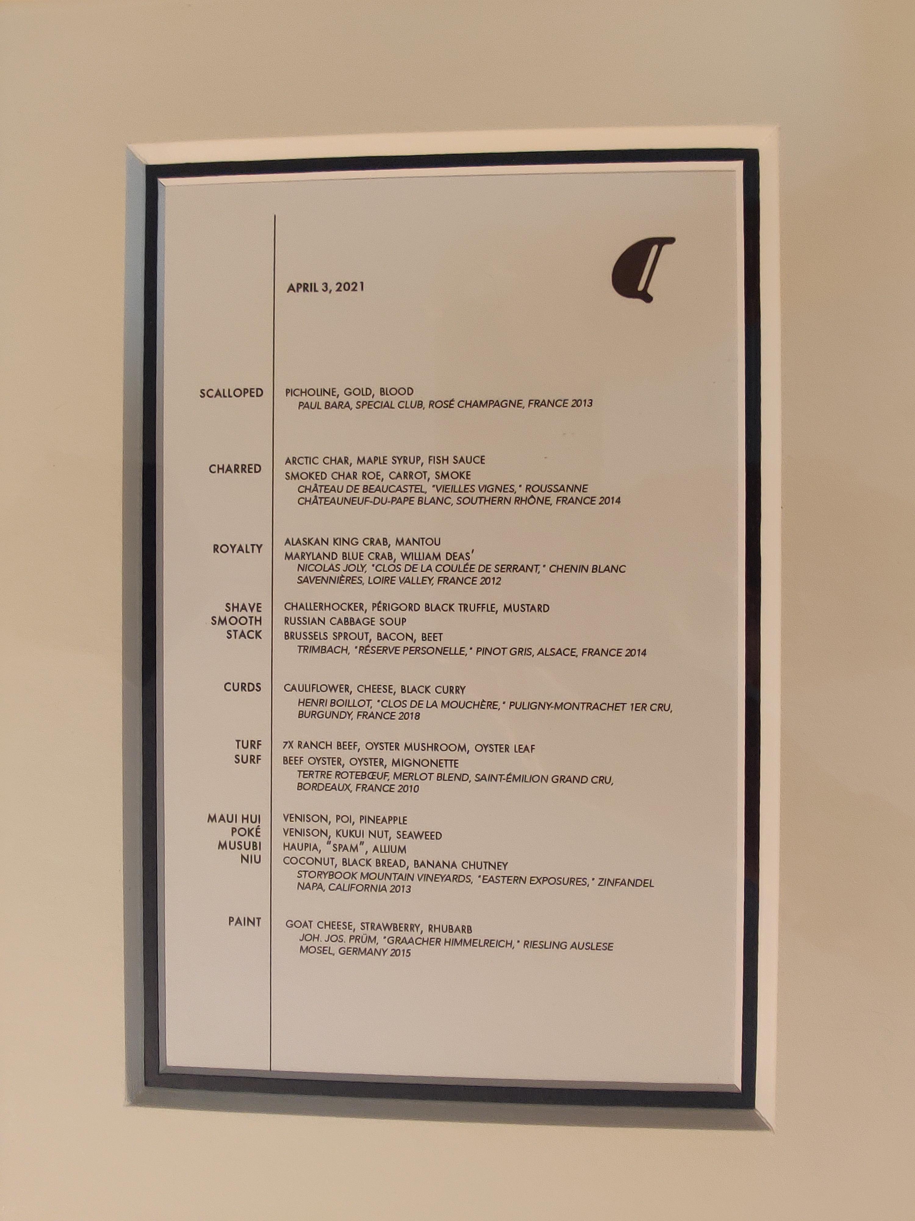 Alinea menu, unframed