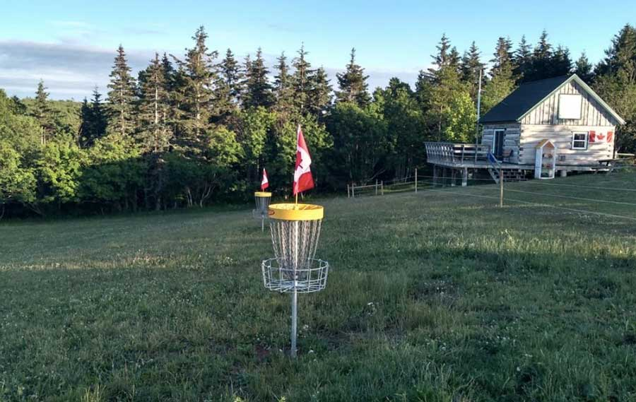 A disc golf basket in grass at Hillcrest Farm Disc Golf Course in Prince Edward Island, Canada