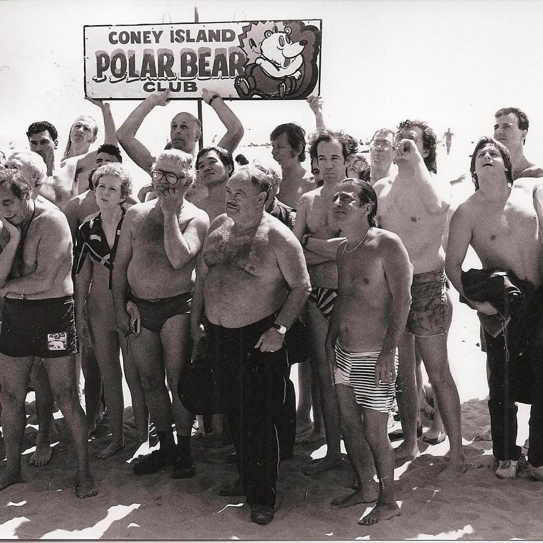an archival photo of the Coney Island Polar Bear Club at a polar bear plunge