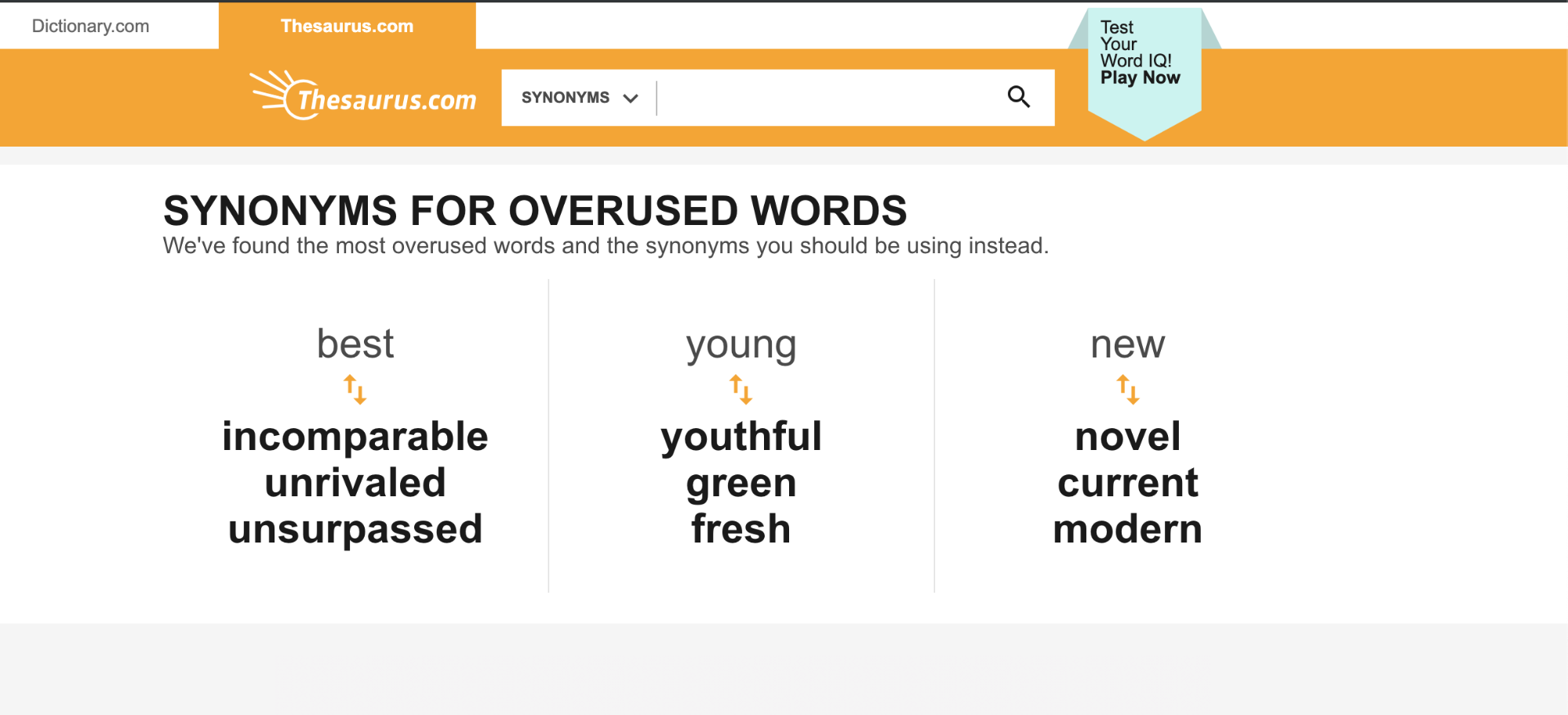 Screenshot of Thesaurus.com. This website offers synonyms to improve writing style.