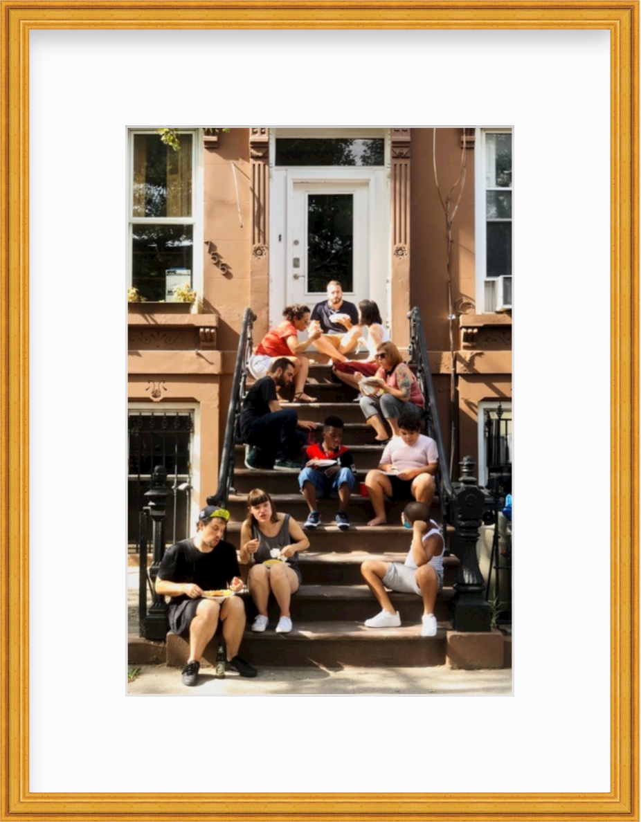 photo of stoop with neighbors in brooklyn in gold frame
