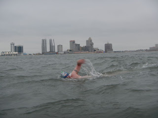 Team Endless Pools member Jason Malick during his 22.5-mile swim around Absecon Island
