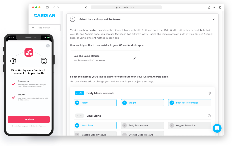 cardian platform desktop dashboard and phone screen