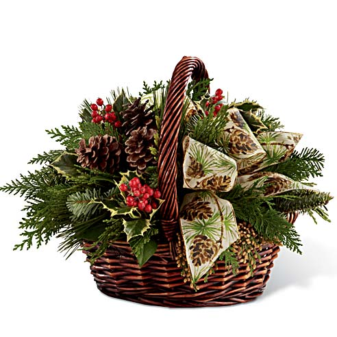 Christmas flowers gift delivery winter greens berry basket bouquet