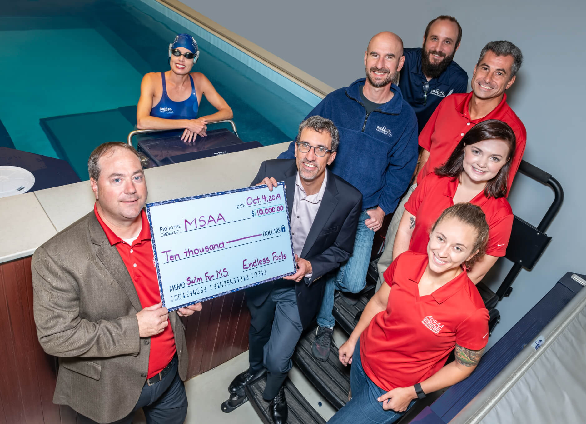 Endless Pools donated $10,000 to the Multiple Sclerosis Association of America as the Title Sponsor of the Swim for MS Initiative