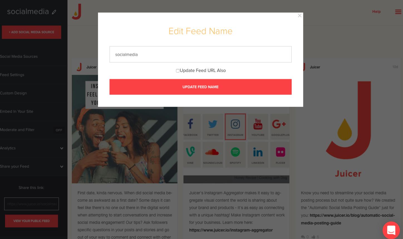 Juicer Wordpress social feed set up