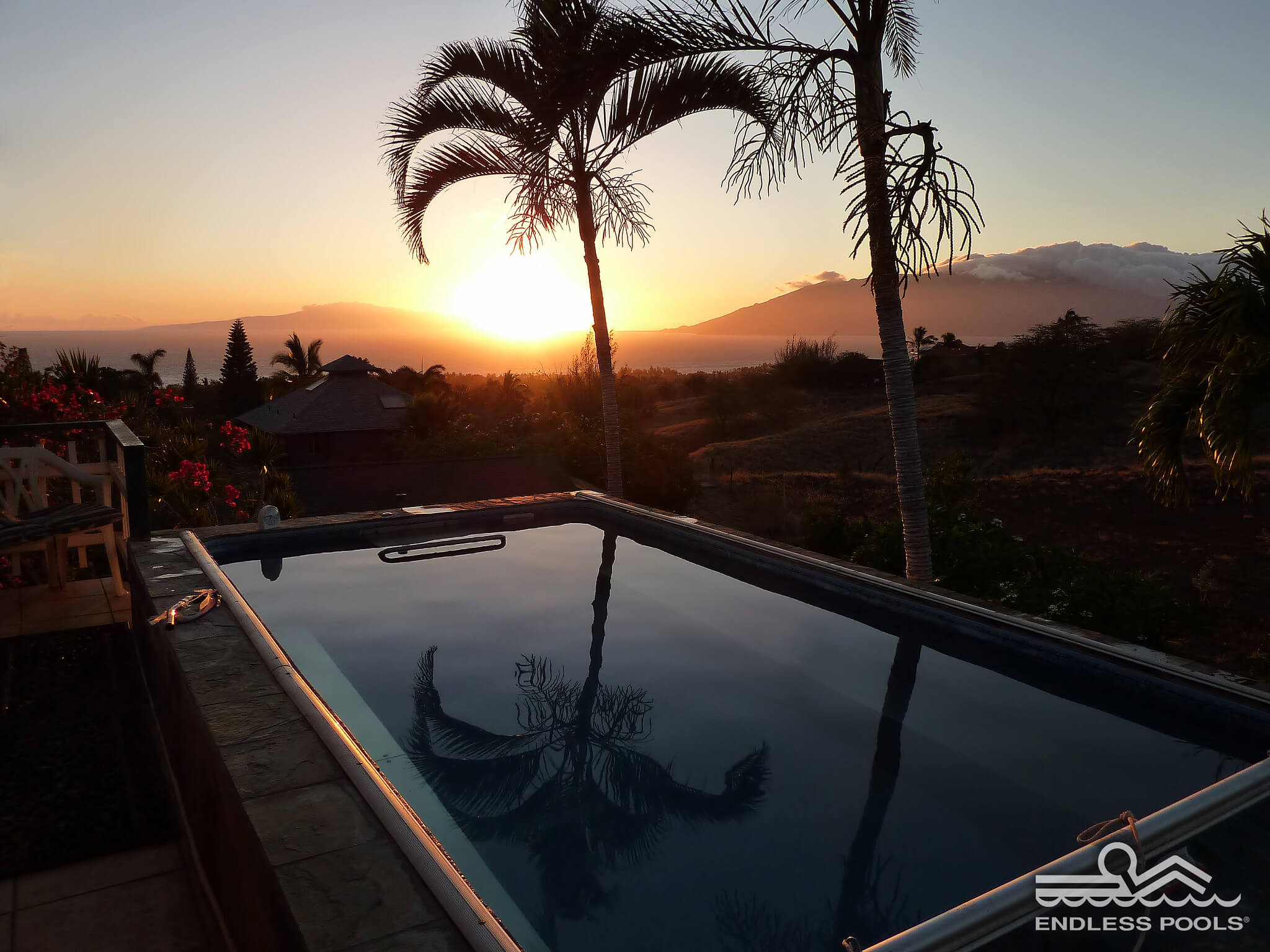 Original Endless Pool at sunset in Hawaii