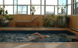 an indoor, in-ground Endless Pools swimming machine