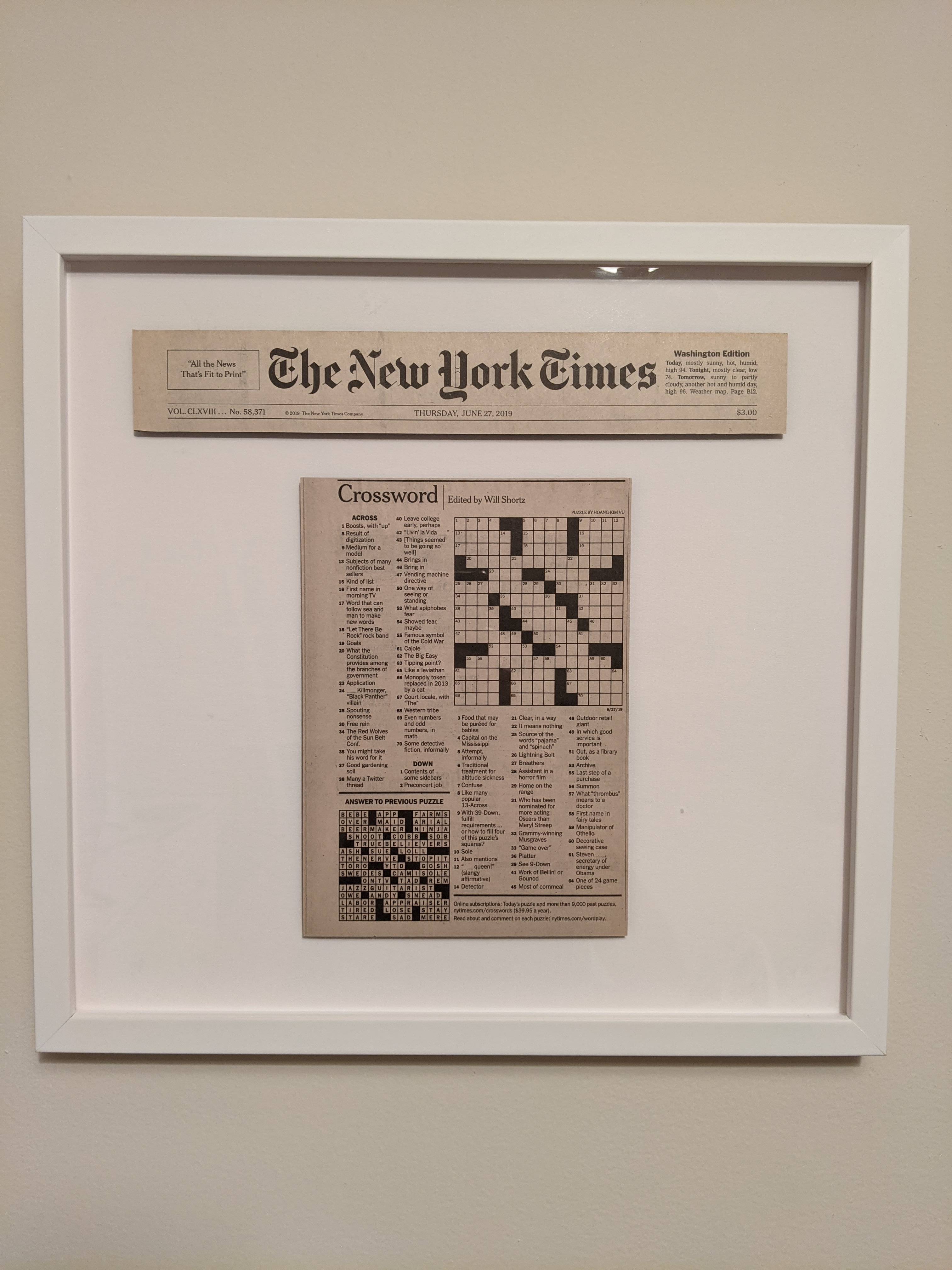 New York Times Crossword puzzle in white frame