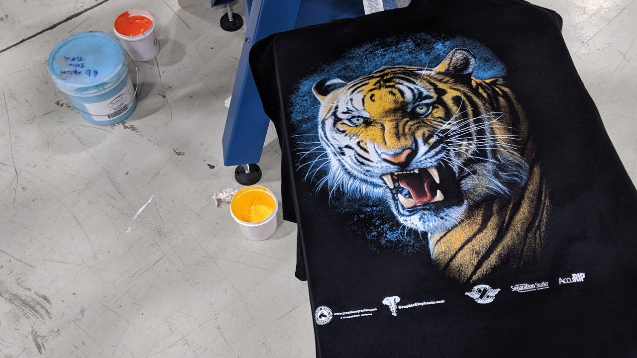 A soft, vibrant screen printed t-shirt at The M&R Companies HQ