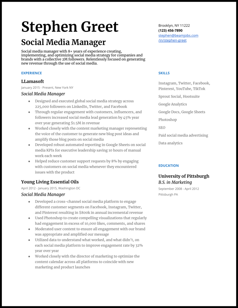 5 Social Media Manager Resume Examples For 2020